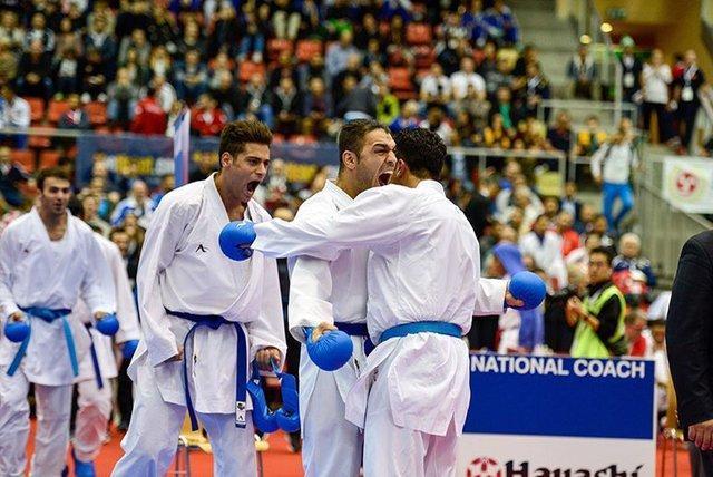 هت تریک طلایی کومیته مردان ایران در رقابت های جهانی کاراته