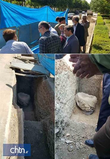 کشف چاه سنگی دوره ساسانی در محوطه باستانی تپه اشرف اصفهان
